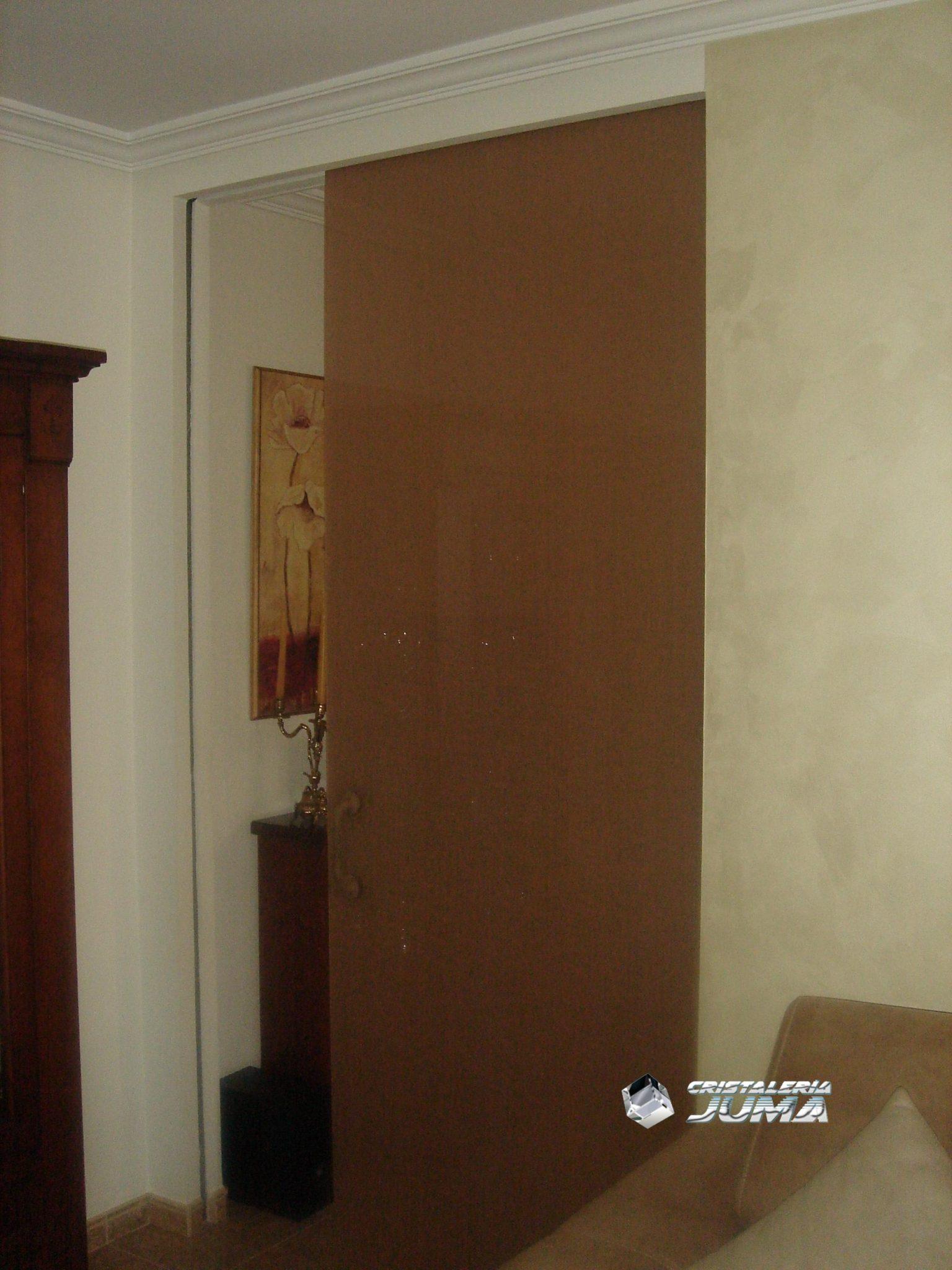puerta corredera vidrio laminado con lino