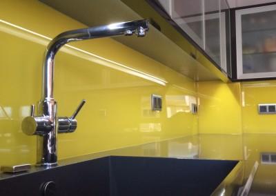 Cristal templado lacado amarillo para cocina