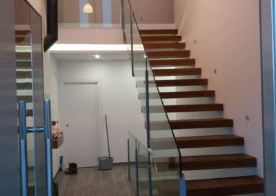Baranda Cristal Escalera Suspendida