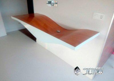 Frontal lavabo de cristal lacado blanco